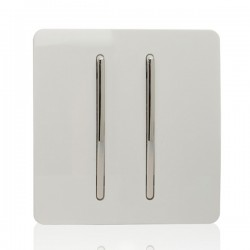 Trendi White 2 Gang 2 Way Rocker Light Switch