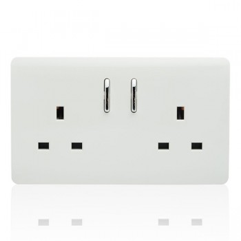 Trendi White 2 Gang 13A Short Switched Socket