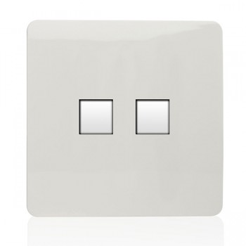 Trendi White 2 Gang Ethernet Socket