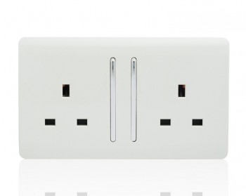 Trendi White 2 Gang 13A Long Switched Socket