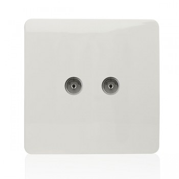 Trendi White 2 Gang TV Socket