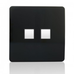 Trendi Black 2 Gang Telephone Socket