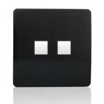 Trendi Black 2 Gang Ethernet Socket