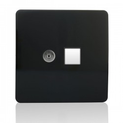 Trendi Black Ethernet/TV Co-axial Socket