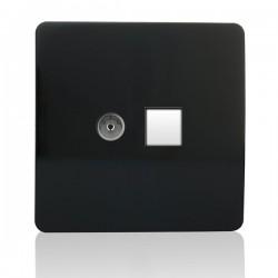 Trendi Black Ethernet/TV Co-axial Socket