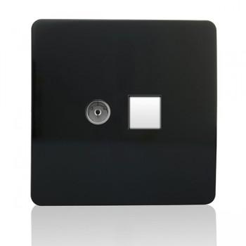 Trendi Black Telephone/TV Co-axial Socket