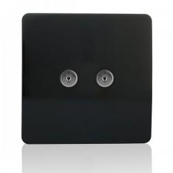 Trendi Black 2 Gang TV Socket