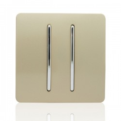 Trendi Gold 2 Gang 2 Way Rocker Light Switch
