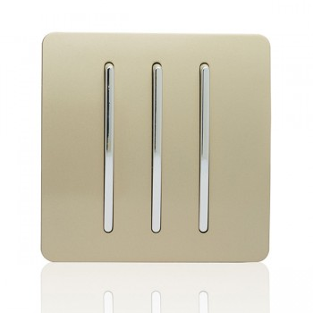 Trendi Gold 3 Gang 2 Way Rocker Light Switch