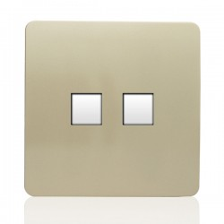 Trendi Gold 2 Gang Telephone Socket