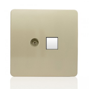 Trendi Gold Telephone/TV Co-axial Socket