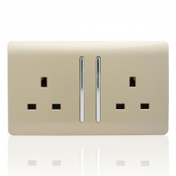 Trendi Gold 2 Gang 13A Long Switched Socket