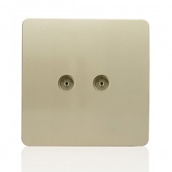 Trendi Gold 2 Gang TV Socket