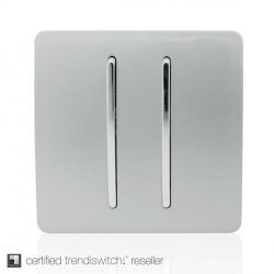 Trendi Silver 2 Gang 1 Way Rocker Light Switch