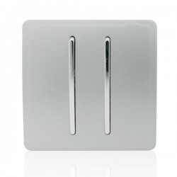 Trendi Silver 2 Gang 1 Way Rocker Light Switch