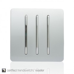 Trendi Silver 3 Gang 1 Way Rocker Light Switch