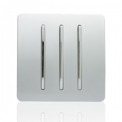 Trendi Silver 3 Gang 1 Way Rocker Light Switch