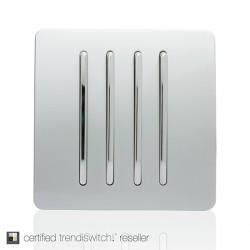 Trendi Silver 4 Gang 1 Way Rocker Light Switch