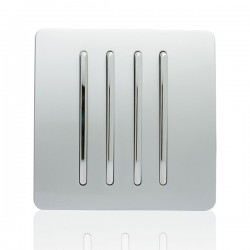 Trendi Silver 4 Gang 1 Way Rocker Light Switch