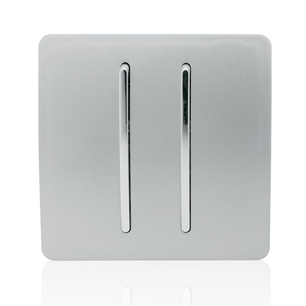 Trendi Silver 2 Gang 2 Way Rocker Light Switch At Uk