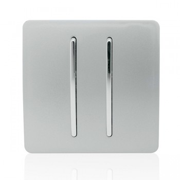 Trendi Silver 2 Gang 2 Way Rocker Light Switch