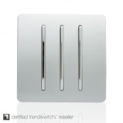 Trendi Silver 3 Gang 2 Way Rocker Light Switch