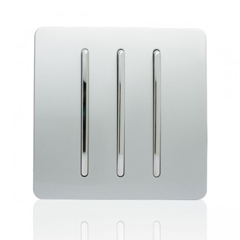 Trendi Silver 3 Gang 2 Way Rocker Light Switch