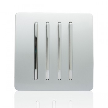 Trendi Silver 4 Gang 2 Way Rocker Light Switch
