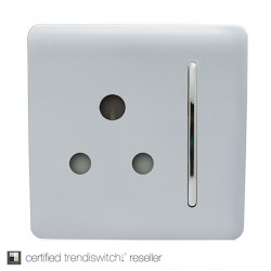 Trendi Silver 15A 1 Gang Round Pin Switched Socket