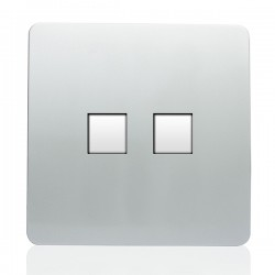Trendi Silver 2 Gang Telephone Socket