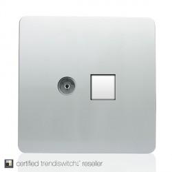 Trendi Silver Ethernet/TV Co-axial Socket