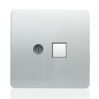 Trendi Silver Ethernet/TV Co-axial Socket