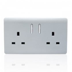 Trendi Silver 2 Gang 13A Short Switched Socket