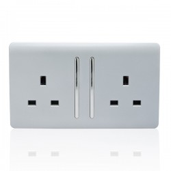 Trendi Silver 2 Gang 13A Long Switched Socket