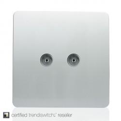 Trendi Silver 2 Gang TV Socket