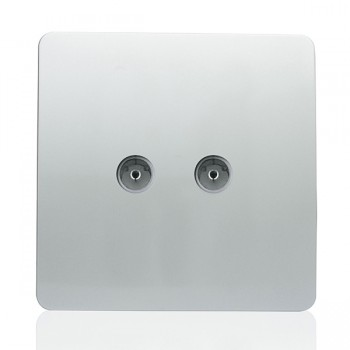 Trendi Silver 2 Gang TV Socket