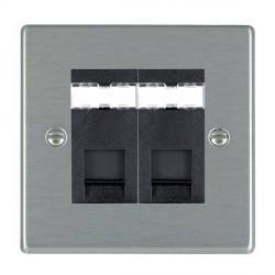 Hamilton Hartland Satin Steel 2 Gang RJ45 Outlet Cat 5e Unshielded with Black Insert