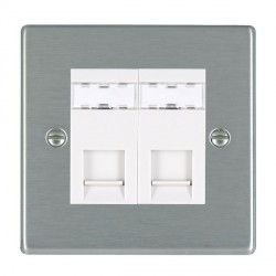 Hamilton Hartland Satin Steel 2 Gang RJ45 Outlet Cat 5e Unshielded with White Insert