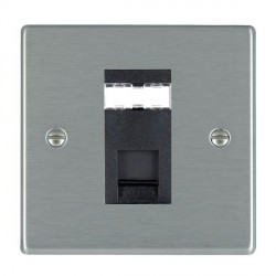 Hamilton Hartland Satin Steel 1 Gang RJ45 Outlet Cat 5e Unshielded with Black Insert