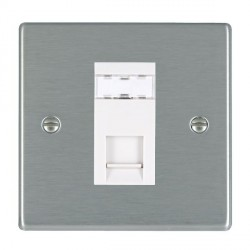 Hamilton Hartland Satin Steel 1 Gang RJ45 Outlet Cat 5e Unshielded with White Insert
