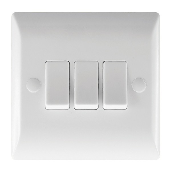 Rocker Light Switch >> Hamilton Vogue 10a 3 Gang 2 Way Rocker Light Switch