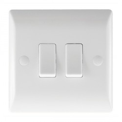 Hamilton Vogue 10A 2 Gang 2 Way Rocker Light Switch