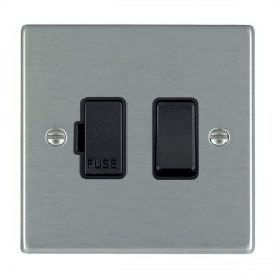 Hamilton Hartland Satin Steel 1 Gang 13A Fused Spur, Double Pole with Black Insert & Black Switch