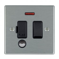 Hamilton Hartland Satin Steel 1 Gang 13A Fused Spur, Double Pole + Neon + Cable Outlet with Black Insert