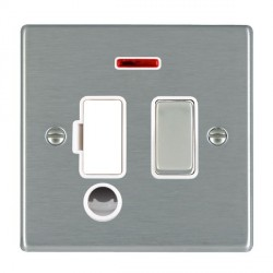 Hamilton Hartland Satin Steel 1 Gang 13A Fused Spur, Double Pole + Neon + Cable Outlet with White Insert
