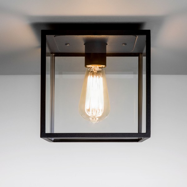 Astro Box Black Outdoor Ceiling Light