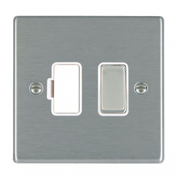 Hamilton Hartland Satin Steel 1 Gang 13A Fused Spur, Double Pole with White Insert & Satin Steel Switch