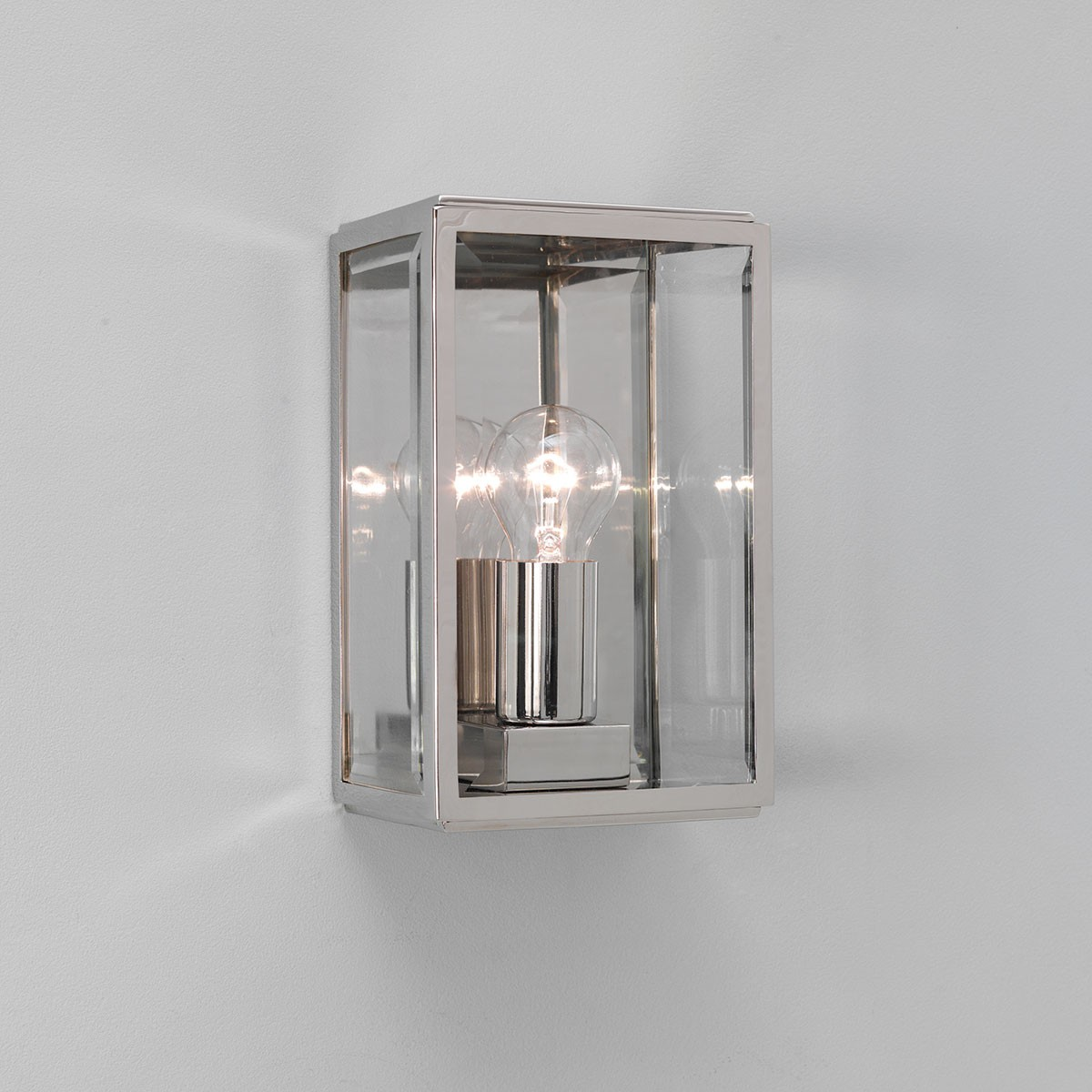 Wall Lights Nickel : Astro Homefield Polished Nickel Outdoor Wall Light at UK Electrical Supplies.