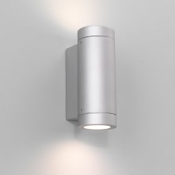 Astro Porto Plus Twin Painted Silver Outdoor Wall Light