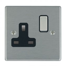 Hamilton Hartland Satin Steel 1 Gang 13A Switched Socket - Double Pole with Black Insert